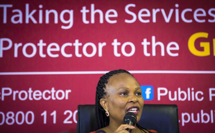 Public Protector Busisiwe Mkhwebane releases the report on investigations into financial corruption and planning for Nelson Mandela's funeral on 4 December 2017. Picture: Thomas Holder/EWN
