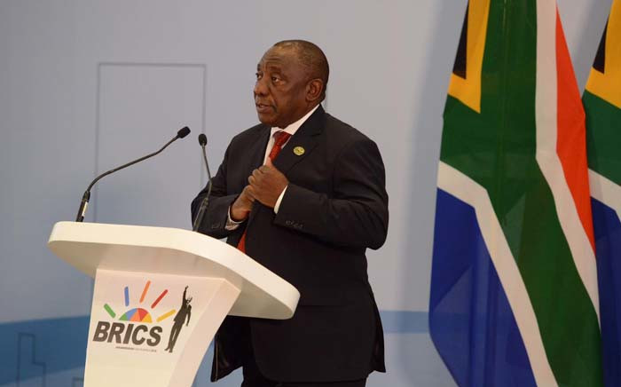 President Cyril Ramaphosa delivering the closing address at the BRICS Summit in Sandton, Johannesburg. Picture: @PresidencyZA/Twitter.