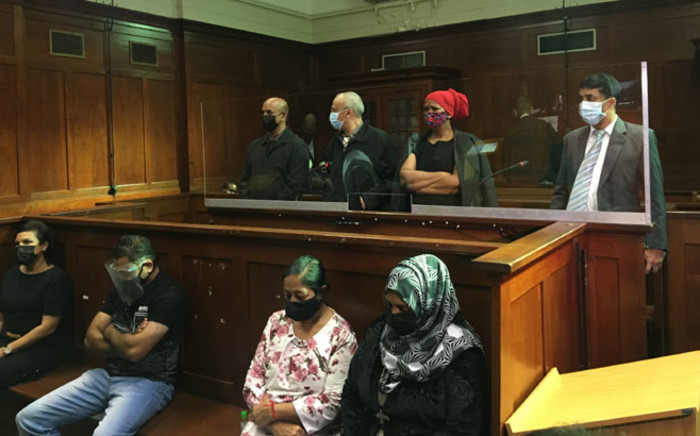 Controversial businessman Thoshan Panday, former KwaZulu-Natal Police Commissioner Mmamonye Ngobeni and six of their seven co-accused appeared in the Durban High Court on 21 May 2021. Picture: Nkosikhona Duma/Eyewitness News