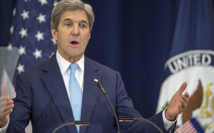 US Secretary of State John Kerry lays out his vision for peace between Israel and the Palestinians on 28 December 2016 at the Department of State in Washington. Picture:  AFP.