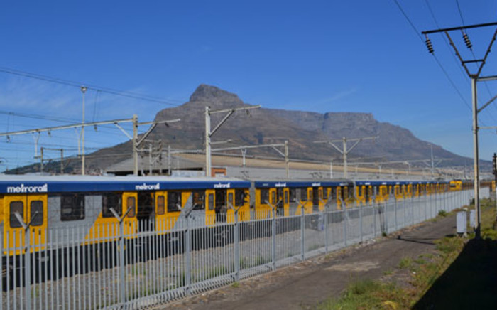 A train passes by Table Mountain