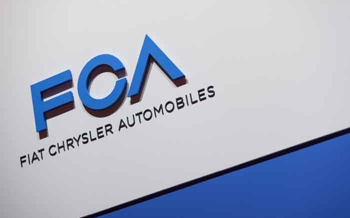 FILE: A FCA (Fiat Chrysler Automobiles) logo is displayed on 6 March 2019 during a press day ahead of the Geneva International Motor Show in Geneva. Picture: AFP