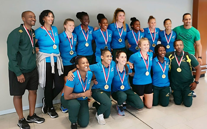 The Springbok Women's Sevens with their Rugby Africa Women's Sevens gold medals arrive in South Africa on 15 October 2019. Picture: @WomenBoks/Twitter