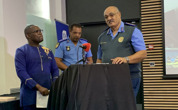 Western Cape Transport MEC Bonginkosi Madikizela (left) and Western Cape traffic chief Kenny Africa (right) at a media briefing for the province's festive season road death statistics in Cape Town on 29 January 2020. Kaylynn Palm/EWN