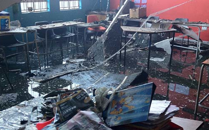 The remains of a school that was affected by a fire in Marlboro on 1 September 2012. Picture: Govan Whittles/EWN.