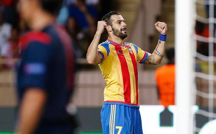 Alvaro Negredo celebrates scoring the early goal against Monaco in the Champions League playoffs on 25 August 2015. Picture: Valencia FC Facebook page.
