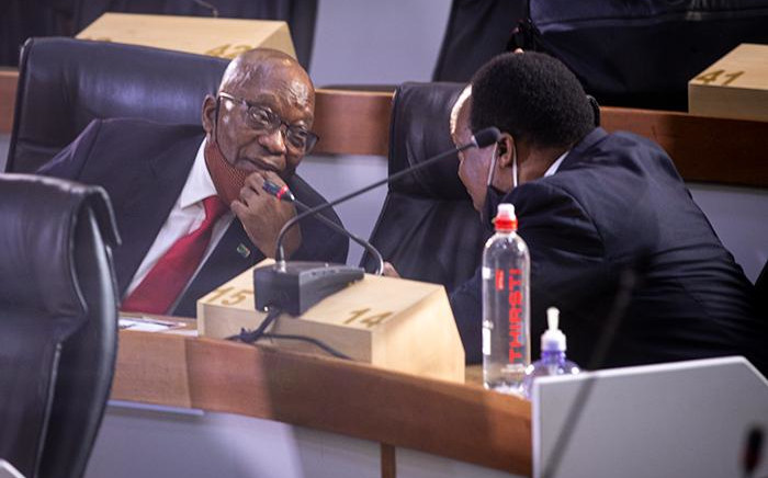 Former president Zuma and his legal counsel Advocate Sikhakhane. Picture: Xanderleigh Dookey/EWN.