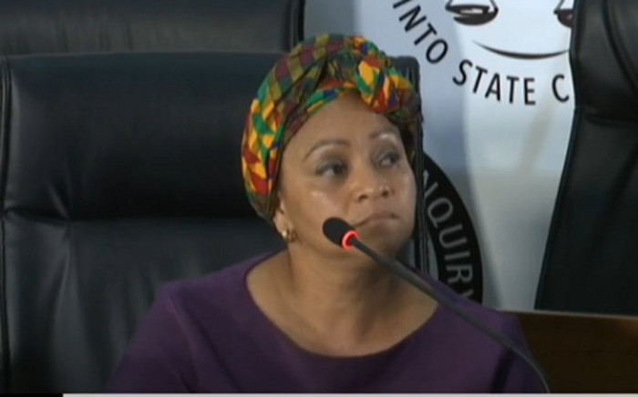 A YouTube screengrab of former Cabinet Minister Nomvula Mokonyane's personal assist, Sandy Thomas, testifying at the state capture commission of inquiry in Johannesburg on 31 August 2020. Picture: SABC/YouTube