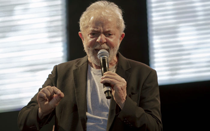 Picture released by Folha de Pernambuco showing Brazilian former President Luiz Inacio Lula da Silva speaking during the 'Free Lula' music Festival in Recife, Pernambuco state, Brazil, on 17 November 2019. Picture: AFP