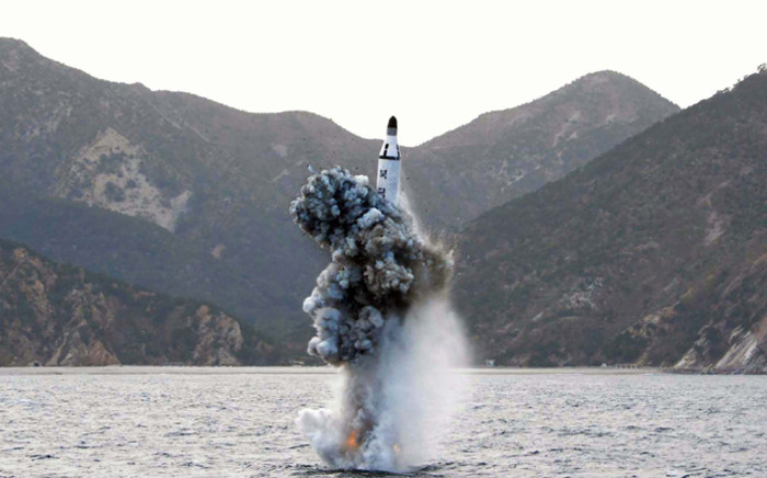 This picture released from North Korea's official Korean Central News Agency (KCNA) on April 24, 2016 shows the underwater test-fire of a strategic submarine ballistic missile at an undisclosed location in North Korea on 23 April, 2016. Picture: AFP.