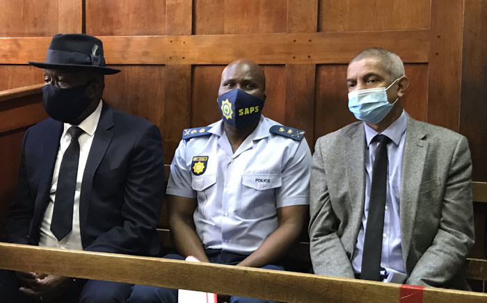 From left: Police Minister Bheki Cele, Western Cape Acting Police Commissioner Thembisile Patekile and SAPS Major-General Jeremy Vearey in the Cape Town Magistrates Court on 3 May 2021 for the first appearance of alleged underworld kingpin Nafiz Modack and his two co-accused. Picture: Kevin Brandt/Eyewitness News