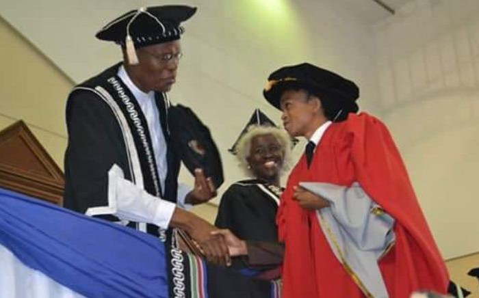 Lecturer at the North West University Lehlohonolo Phali received his PHD in applied mathematics at a graduation ceremony at the Mafikeng campus on 5 May 2016. Picture: Supplied.