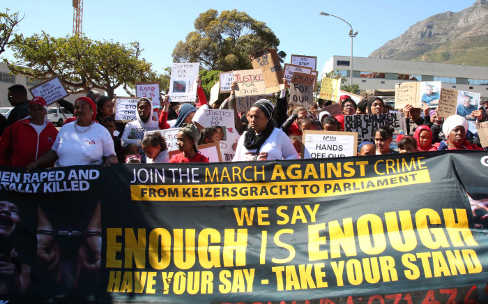 FILE: Residents from Lavender Hill, Manenberg and Mitchells Plain march against crime, gangsterism, and gender-based violence. Picture: Bertram Malgas/EWN