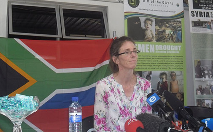 Yolande Korkie attends a press conference in Johannesburg after being held captive in Yemen on 16 January 2014. Picture: Govan Whittles/EWN