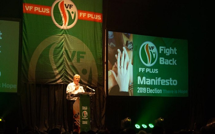 FF Plus leader Pieter Groenewald at the party's manifesto launch on Saturday 2 March 2019. Picture: FF Plus Facebook.
