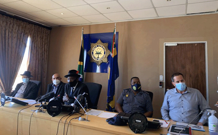 Police Minister Bheki Cele (M) gave an update of extortion cases in Cape Town on 8 April 2021. Picture: Kaylynn Palm/Eyewitness News.