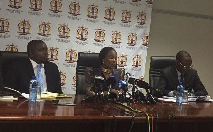 Advocate Busisiwe Mkhwebane briefs the media on her 100 days in the office of Public Protector. Picture: Kgothatso Mogale/EWN.