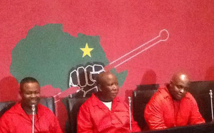 EFF leader Julius Malema at the EFF press briefing about the Nkandla National Assembly chaos on 21 August 2014. Picture: Gaye Davis/EWN.
