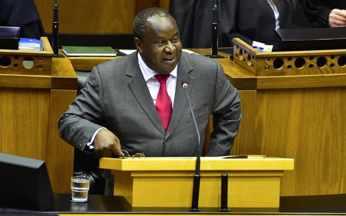 Finance Minister Tito Mboweni delivers his Medium-Term Budget Policy Statement on 24 October 2018 in Parliament. Picture: @ParliamentofRSA/Twitter