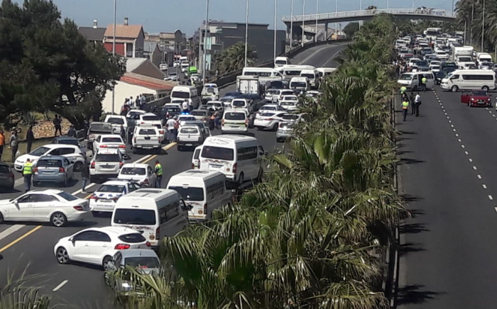 Taxis are seen during a protest at Nelson Mandela Boulevard at Searle Street on 18 October 2019. Picture: City of Cape Town