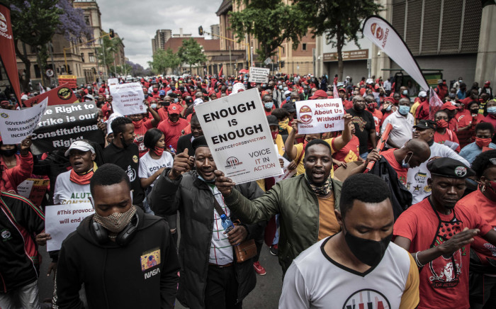 Workers affiliated to different trade unions marched from Burgerspark to the Treasury in Pretoria on 7 October 2020. Picture: Abigail Javier/EWN