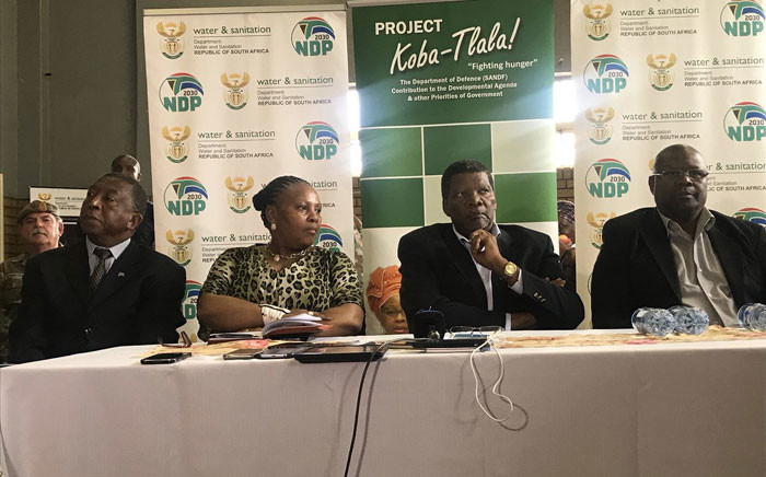 Defence Minister Nosiviwe Mapisa Nqakula, Water and Sanitation Minister Gugile Nkwinti and other government officials briefed the media on the progress made in the Emfuleni Local Municipality. Picture: Thando Kubheka/EWN.