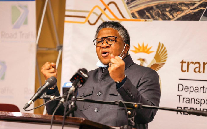 FILE: Transport Minister Fikile Mbalula at a media briefing on 29 June 2020. Picture: @EsethuOnDuty/Twitter