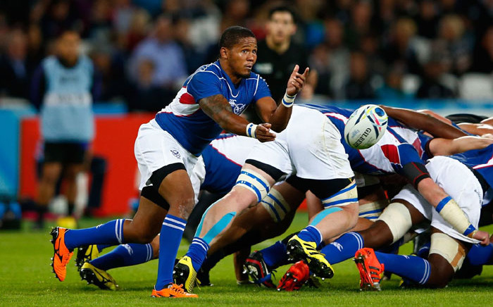 Namibia's veteran scrum-half Eugene Jantjies gets the ball away. Picture: @rugbyworldcup/Twitter