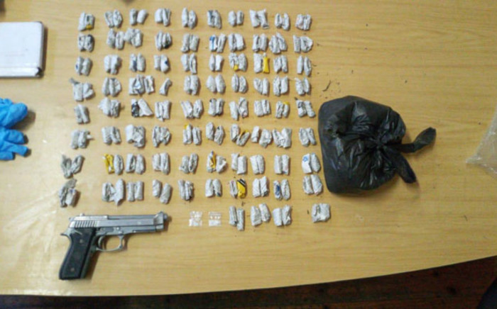 Police in Cape Town seized drugs and an imitation firearm in two separate incidents in Vrygrond on 29 November 2020. Picture: @SAPoliceService/Twitter