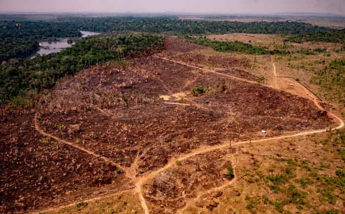 Handout picture released by the Communication Department of the State of Mato Grosso showing deforestation in the Amazon basin in the municipality of Colniza, Mato Grosso state, Brazil, in August 2019. Picture: AFP.