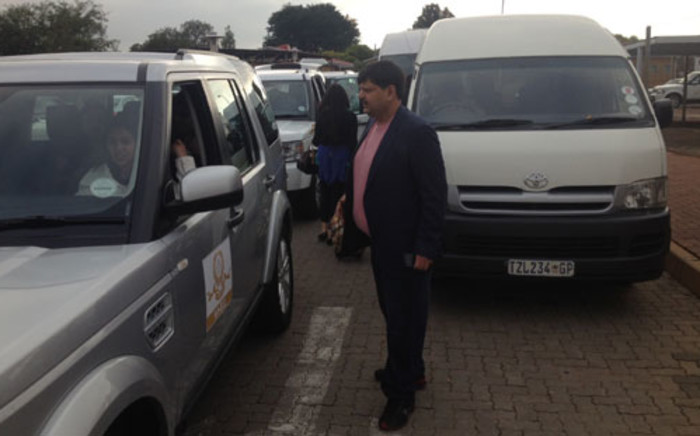 Atul Gupta welcomes guests who arrived at the Waterkloof Air Force Base for his niece, Vega's wedding. Picture: Barry Bateman/EWN