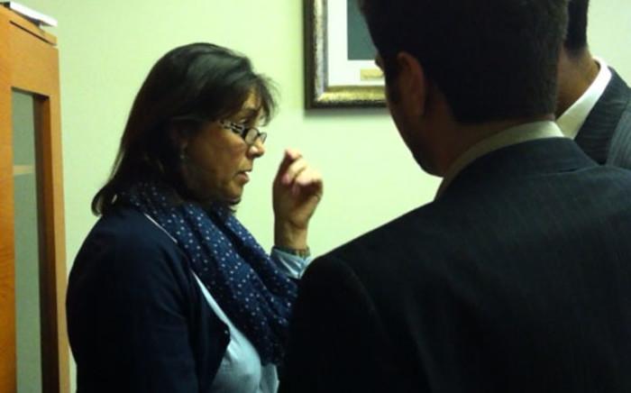 Rivonia Primary principal Carol Drysdale speaks to her lawyers. Picture: Alex Eliseev/EWN.