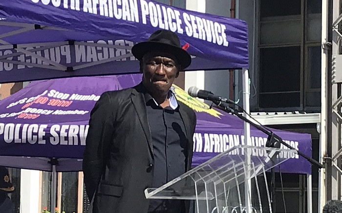 Police Minister Bheki Cele on Wednesday, 7 April 2021, giving officers strict orders to clean up the streets of the Western Cape and root out gangsters. Picture: Lauren Isaacs/Eyewitness News.