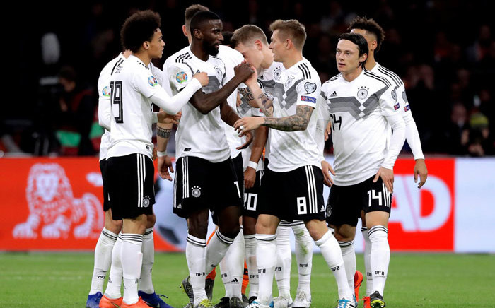 FILE: German players celebrate their victory the Netherlands in their Uefa Euro 2020 qualifier on 24 March 2019. Picture: @UEFAEURO/Twitter