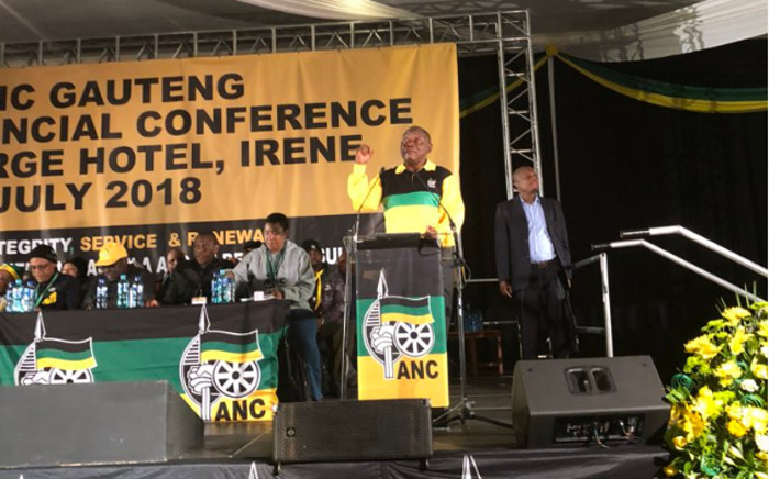 ANC President Cyril Ramaphosa addresses the opening of the ANC Gauteng provincial conference in Irene, Pretoria. Picture: Qaanitah Hunter/EWN.