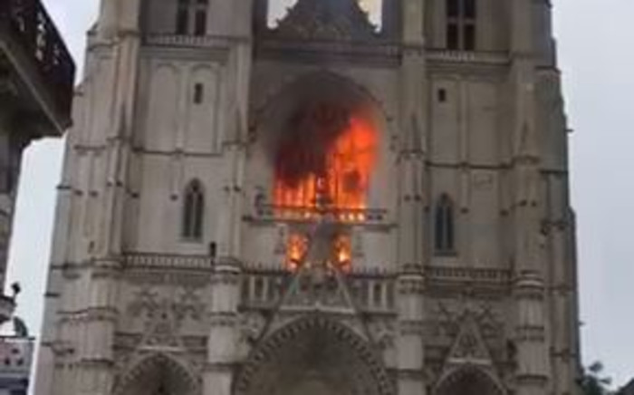 Screengrab of Cathredal fire in Nantes, France. Picture: Screengrab