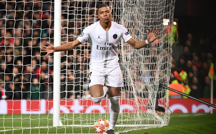 PSG's Kylian Mbappe celebrates his goal against Manchester United in their UEFA Champions League match on 12 February at Old Trafford, Manchester, England. Picture: @ChampionsLeague/Twitter