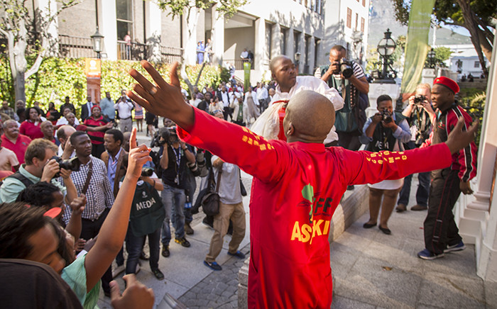 FILE: EFF supporters protest outside Parliament after the party's MPs were forcibly removed the National Assembly on 17 May 2016. Picture: Aletta Harrison/EWN.