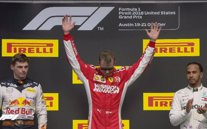 Picture: Ferrari's Kimi Raikkonen (centre) celebrates his victory at the US Grand Prix on 21 October 2018. @F1/Twitter