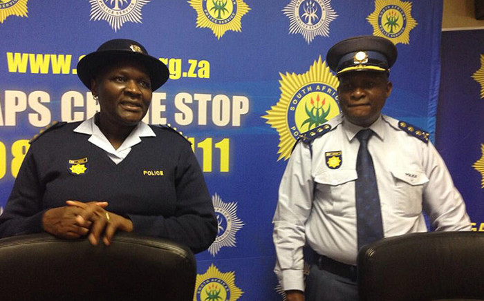 National Commissioner of Police Riah Phiyega with newly appointed Gauteng police commissioner Lesetja Mothiba on 4 June 2014. Picture: Gia Nicolaides/EWN.