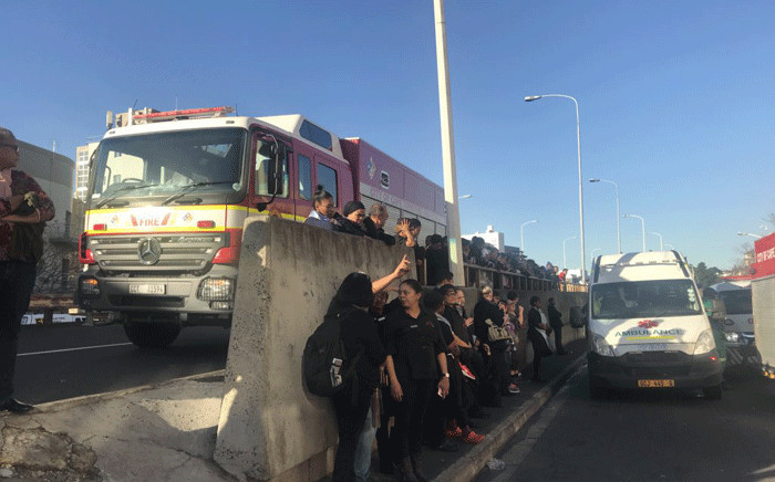 Members of the public on scene where firefighters attended to a gas explosion incident at the Gardens Shopping Centre in Cape Town. Picture: Kaylynn Palm/EWN.