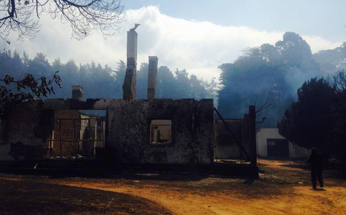 The Wood Owl cottage has been destroyed in the mountain fire. Picture: Shamiela Fisher/EWN.