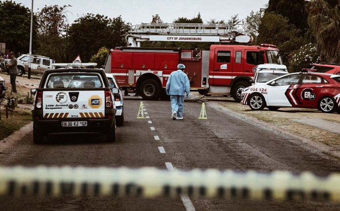 Forensics on the scene of a plane crash in Midrand but the scene remains closed to media and the public. Picture: Thomas Holder/EWN.