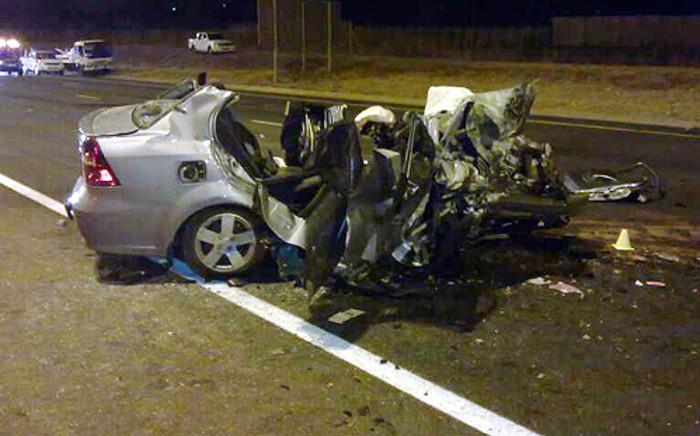 The fatal car crash on the R21 on 8 July 2012. Picture: ER24