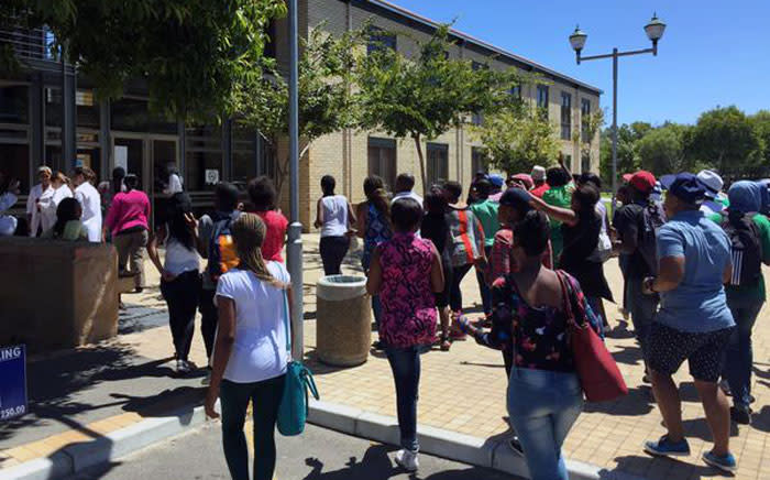 Cape Peninsula University of Technology (CPUT) students begin to march, stating they're going to shut down classes on Friday 20 February 2015. Picture: Monique Mortlock /EWN