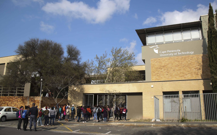 FILE: Students mill about outside the Cape Peninsula University of Technology's Mowbray campus after classes were disrupted by a group of protesters. Picture: EWN.