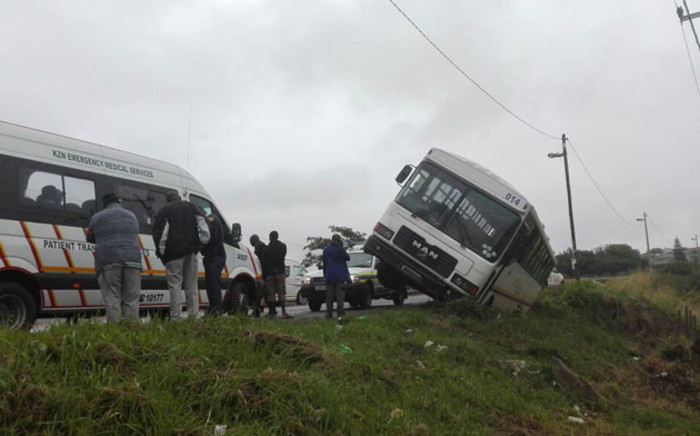 The overturned school bus in Adams Mission, KwaZulu-Natal. Picture: ER24/Twitter