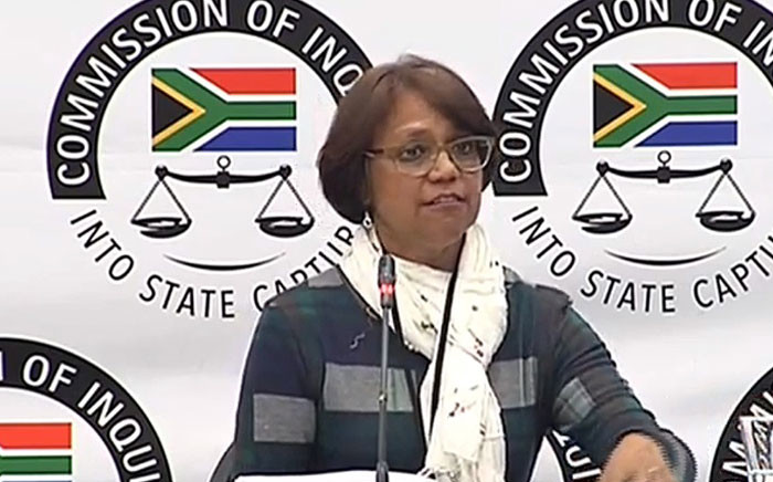 A screengrab shows SAA's national carrier's financial risk head Cynthia Stimpel at the state capture inquiry on 13 June 2019.
