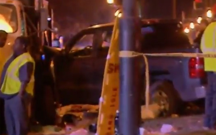 """New Orleans police and emergency services on the scene of an accident where pickup truck driven by a man who appeared to be """"highly intoxicated"""" plowed into a crowd of spectators watching the main Mardi Gras parade in New Orleans on 25 February 2017. Picture: Screengrab."""