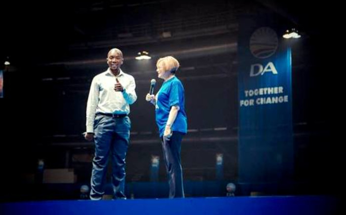 Helen Zille and Mmusi Maimane rehearse ahead of the Democratic Alliance's final election rally at the Coca-Cola dome in Northgate, Johannesburg, 3 May 2014. Picture: Democratic Alliance/Facebook.